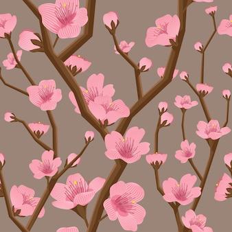 Naadloze kersen bloemenpatroon