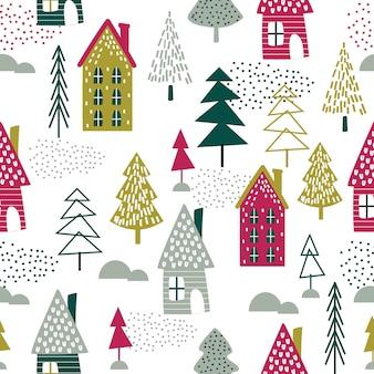 Naadloze kerst huis en kerstboom ontwerp vectorillustratie