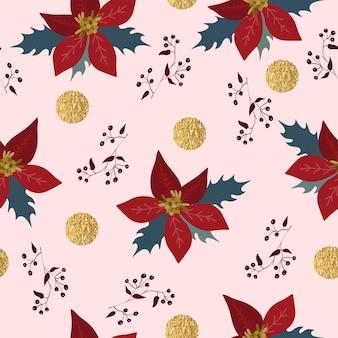 Naadloze kerst natuur patroon winter bos poinsettia rode kleuren bomen whitebackground