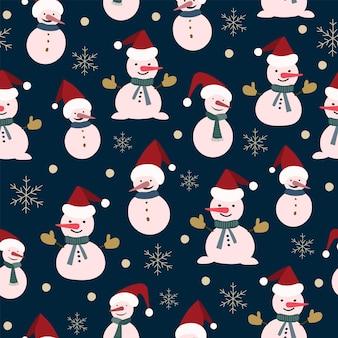 Naadloze kerst natuur patroon, winter forest, donkerblauwe, rode kleuren, bomen, sneeuw, nacht, zwarte achtergrond. stoffenmateriaal, verpakking, behang, ontwerp voor textiel, vectorillustratie