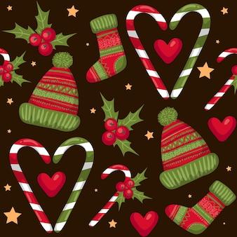 Naadloze kerst patroon. kerst elementen. vectoreps 10