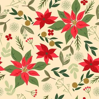 Naadloze kerst patroon met bloemen. vectorafbeeldingen.