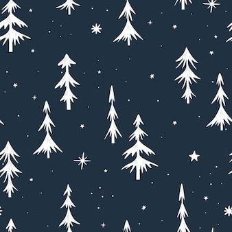 Naadloze kerst patroon met kerstbomen. witte spar op een donkere achtergrond. minimalistisch ontwerp. vector illustratie