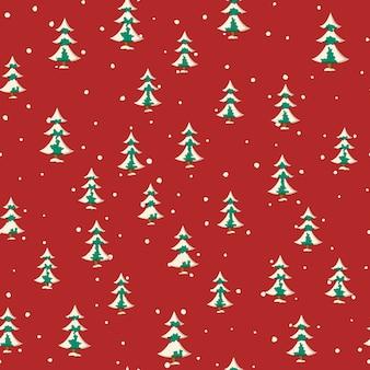 Naadloze kerst patroon met platte gekleurde besneeuwde sparren