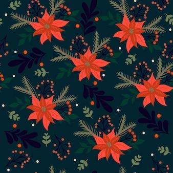 Naadloze kerst patroon met winter flora.