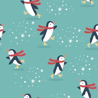 Naadloze kerst patroon withpenguins schaatsen en sneeuwvlokken op achtergrond wazig.