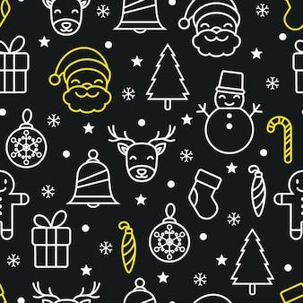 Naadloze kerst vector patroon achtergrond