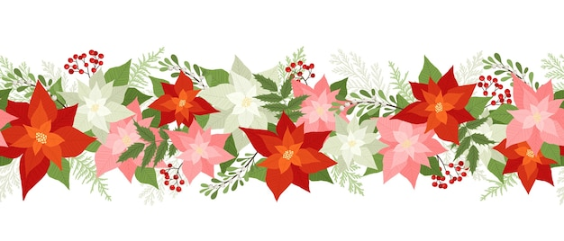 Naadloze kerstgrens met poinsettia, hulst bessen, rowan bessen, winterplanten, pijnboomtakken.
