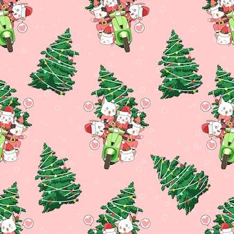 Naadloze kerstman katten komen patroon