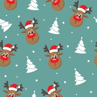 Naadloze kerstmis met rendieren en bomen
