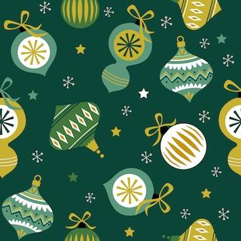Naadloze kerstmisachtergrond met snuisterijen