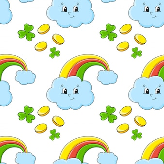 Naadloze kleurenpatroon. magische regenboog. st. patrick's day.