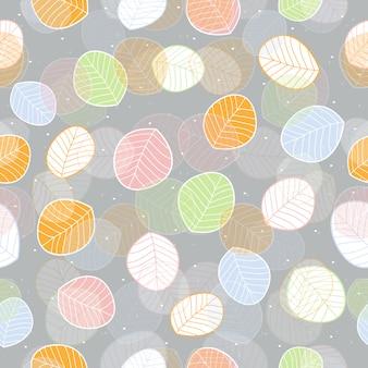 Naadloze kleurrijke bladeren patroon achtergrond