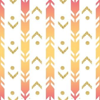 Naadloze kleurrijke pijl met gouden stip glitter patroon op een witte achtergrond