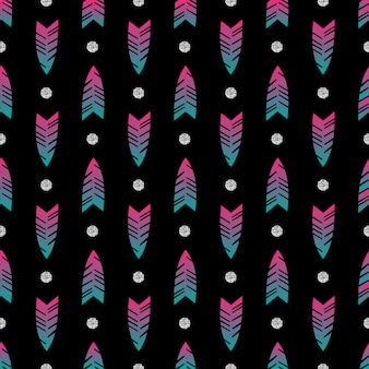 Naadloze kleurrijke pijl met zilveren stip glitter patroon op zwarte achtergrond