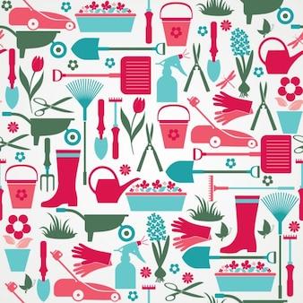 Naadloze kleurrijke tuingereedschap patroon