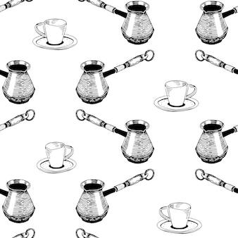 Naadloze koffie patroon hand getrokken vintage