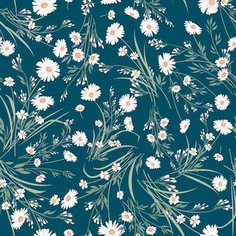 Naadloze lente vector bloemmotief met madeliefjes