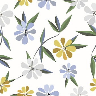 Naadloze leuke bloemenpatroonachtergrond