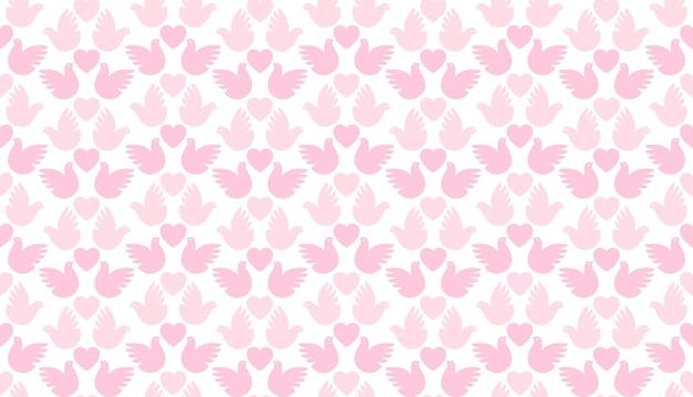 Naadloze liefde patroon van harten en duiven, eenvoudig