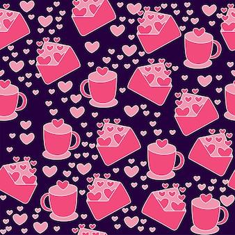 Naadloze liefde thema patroon achtergrond met papieren harten, beker en liefdesbrief.