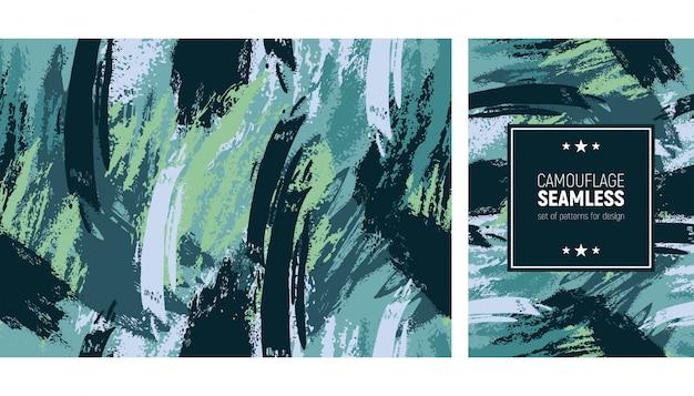 Naadloze lijn penseelpatroon. camouflage moderne achtergrond