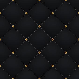 Naadloze luxe donker zwart patroon en achtergrond met blauwe diamant