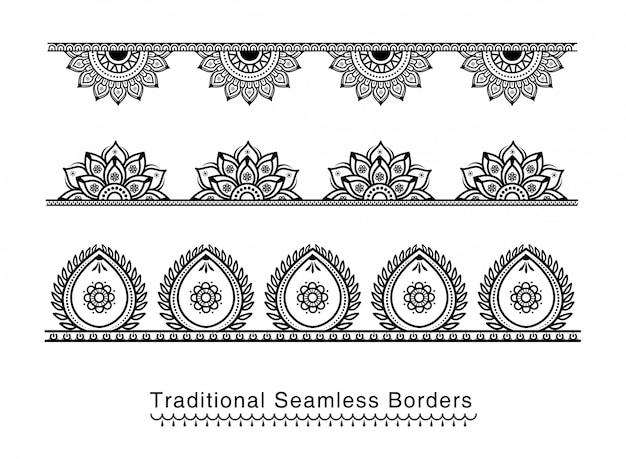 Naadloze mandala-rand ontwerpt hoge details