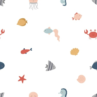 Naadloze mariene patroon leuke vis zeester schelpen kwallen krab zeepaardje