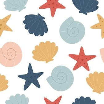 Naadloze mariene patroon onderwaterwereld kleurrijke zeesterren en schelpen