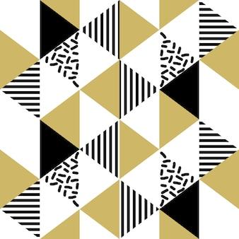 Naadloze memphis geometrische gouden het kleurenstijl van het driehoekspatroon