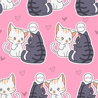 Naadloze minnaar katten patroon.