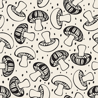 Naadloze monochroom hand getrokken paddestoel patroon achtergrond