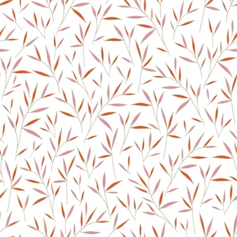 Naadloze mooie bamboe roze en oranje bladeren patroon