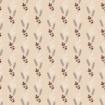 Naadloze natuur patroon abstracte botanische elementen bruine achtergrond vectorillustratie
