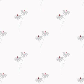 Naadloze natuur patroon camomiles abstracte bloemen bladeren en elementen witte achtergrond hand getrokken