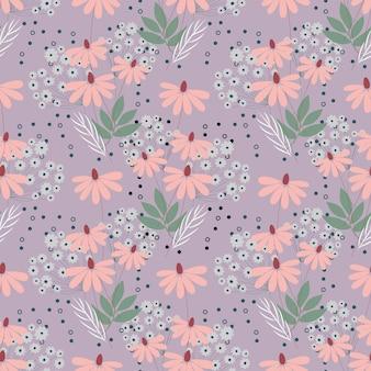 Naadloze natuur patroon tuin abstracte bloemen bladeren en elementen lila achtergrond hand getrokken