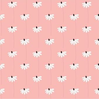 Naadloze natuur patroon tuin abstracte bloemen bladeren en elementen roze achtergrond hand getrokken