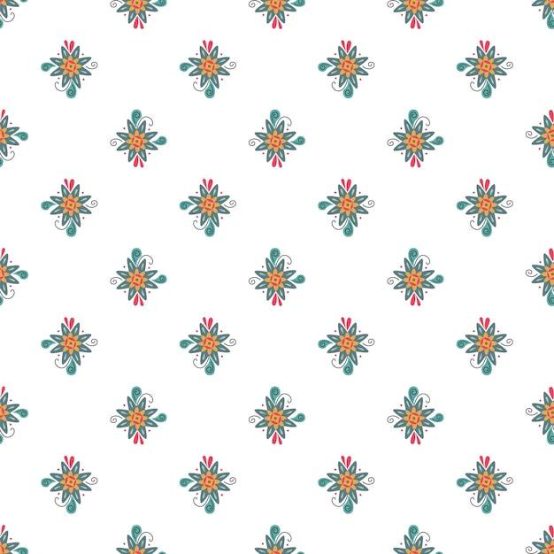 Naadloze natuur patroon tuinieren abstracte bloemen geometrische hand getekend witte achtergrond