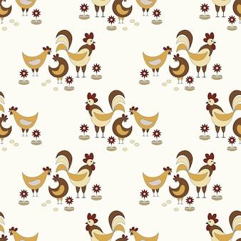Naadloze natuur patroon tuinieren haan en kippen eieren bloemen tekenen op een witte achtergrond
