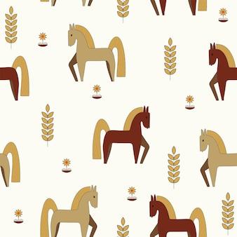 Naadloze natuur patroon tuinieren paarden bloemen tekenen op een witte achtergrond
