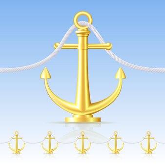 Naadloze omheining met een gouden anker. vector illustratie