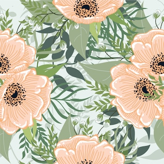 Naadloze oranje bloemen met blad