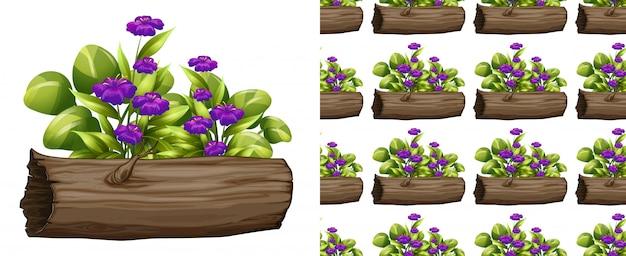 Naadloze paarse bloemen op logboek