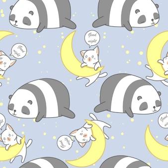 Naadloze panda en kat in het patroon van het goede nachtthema.