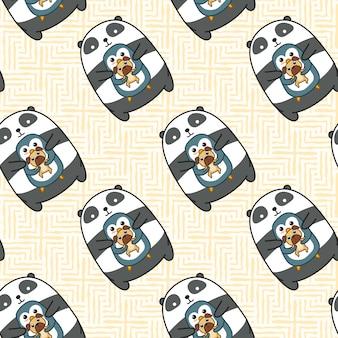 Naadloze panda pinguïn en hond patroon.