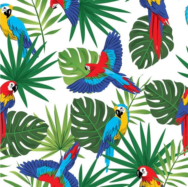 Naadloze papegaai in tropisch bospatroon