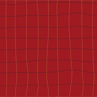 Naadloze pastel geruit patroon cottagecore tekening op rode achtergrond hand getrokken