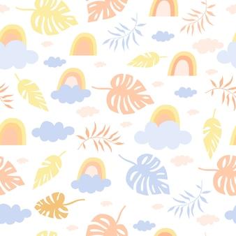 Naadloze pastel patroon regenboog en palmen