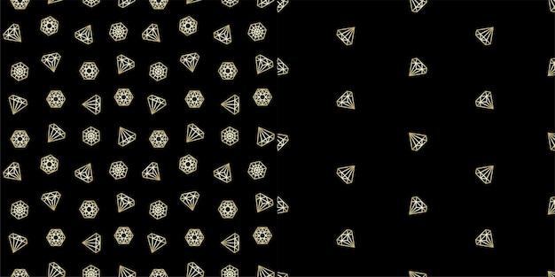 Naadloze patronen bezet met gouden geometrische diamant